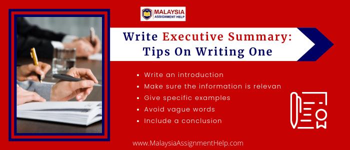 Write Executive Summary: Tips on Writing One